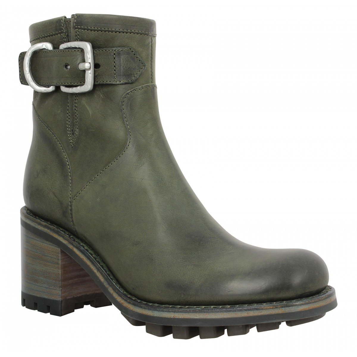 Bottes FREE LANCE Justy 7 Small Gero Buckle cuir Femme Militaire
