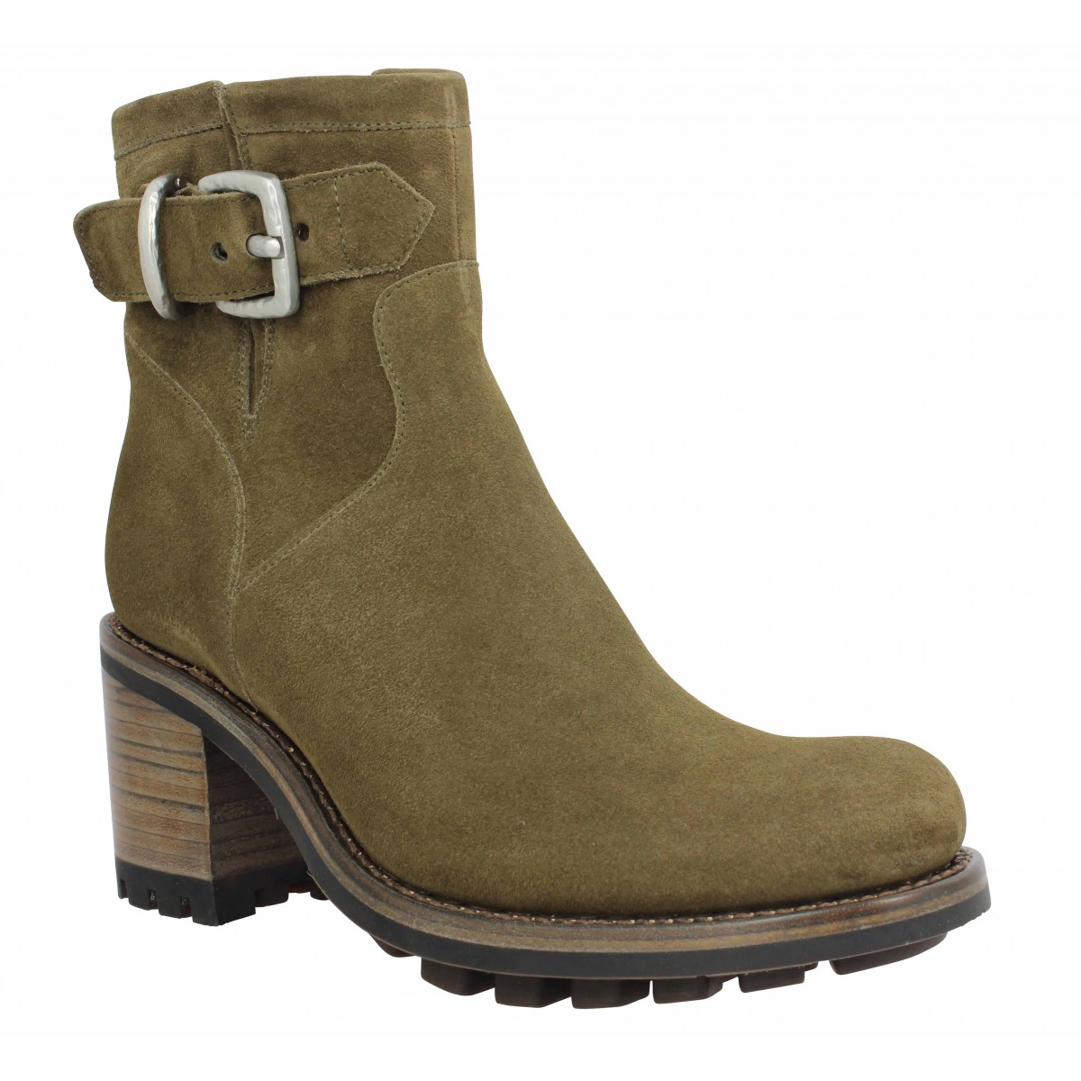 Bottes FREE LANCE Justy 7 Small Gero Buckle velours Femme Army
