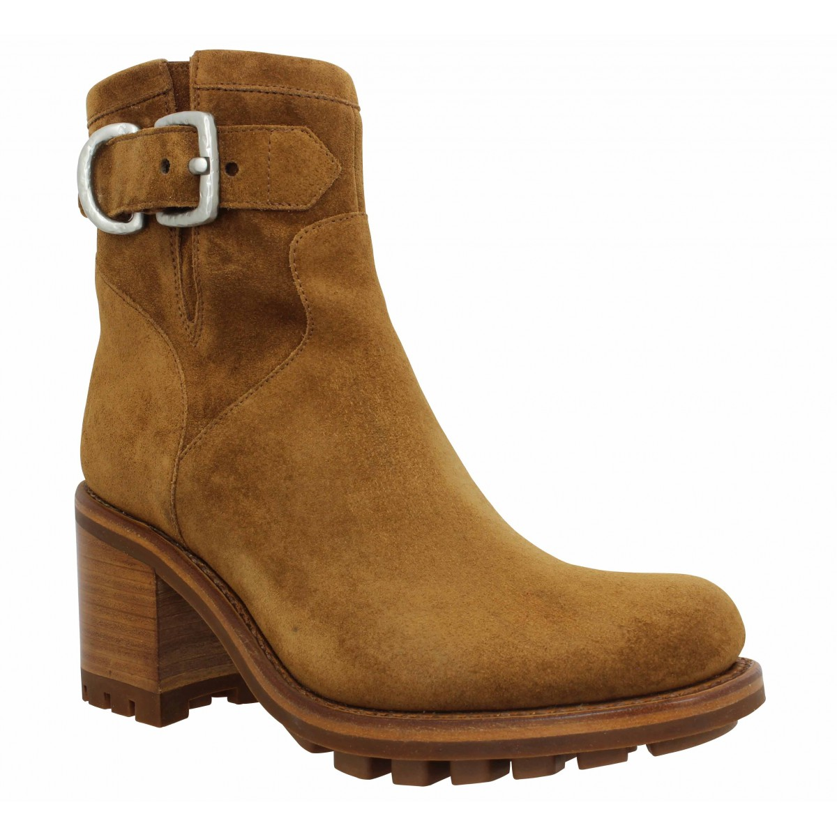Bottines FREE LANCE Justy 7 Small Gero Buckle velours Femme Tabac