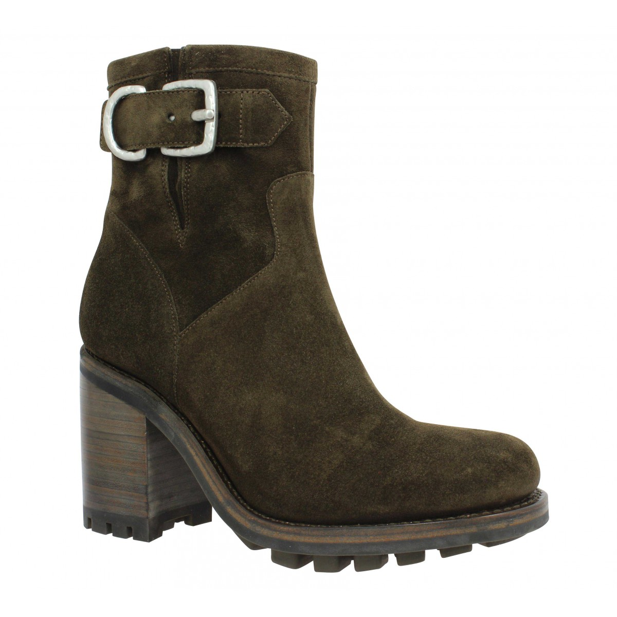 Bottines FREE LANCE Justy 9 Small Gero Buckle velours Femme Olive
