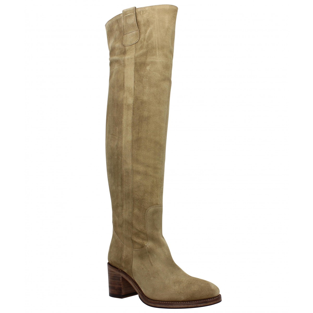 Bottes FREE LANCE Mansory 7 Genouillere velours Femme Taupe