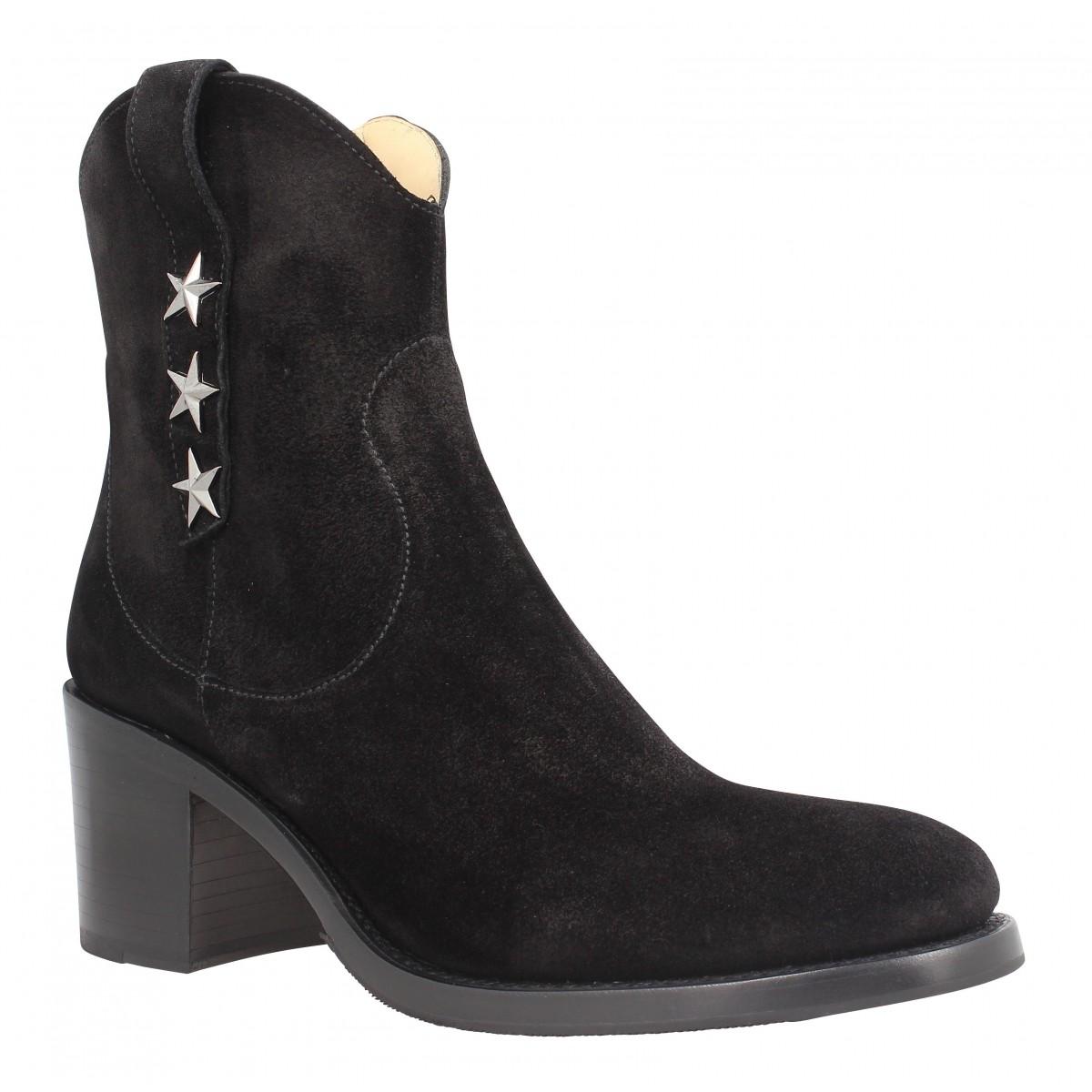 Bottes FREE LANCE Mansory 7 West Zip Boot velours Femme Noir
