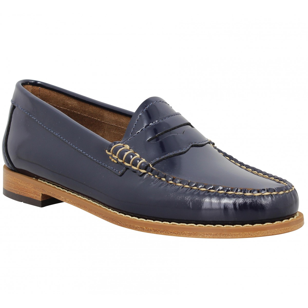 Mocassins GH BASS & CO Weejun Penny Wheel vernis Femme Navy