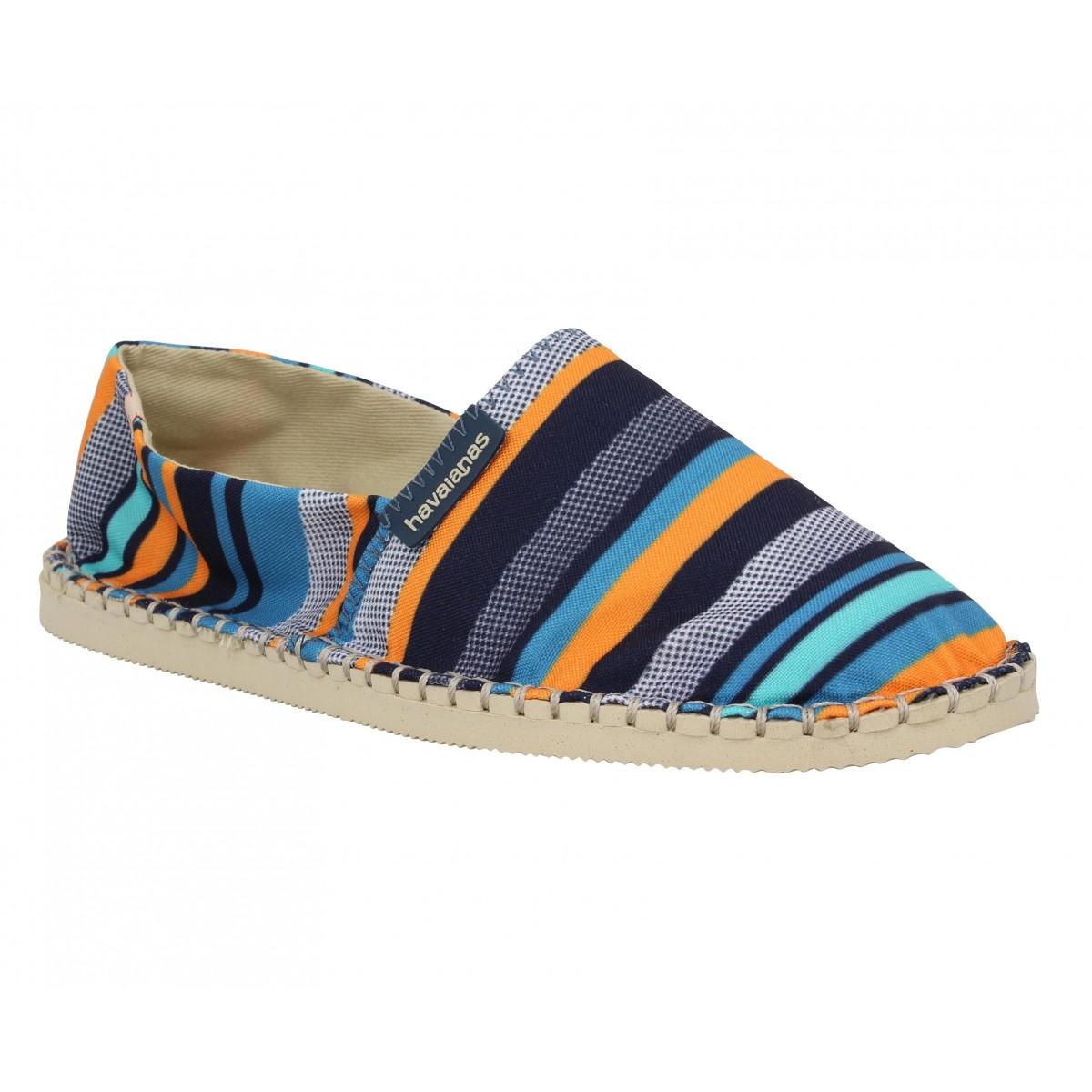Espadrilles HAVAIANAS Origine Trend toile Femme Bleu + Orange