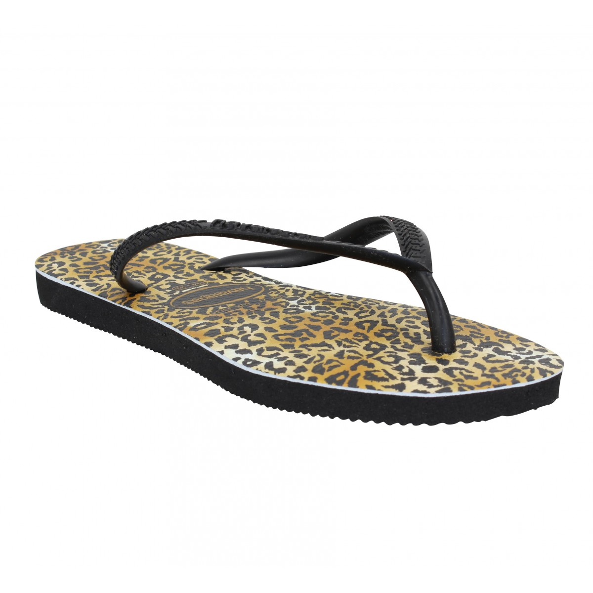 Tongs HAVAIANAS Slim Leopard caoutchouc Enfant Noir