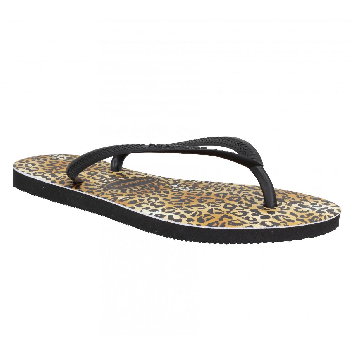 Tongs HAVAIANAS Slim Leopard caoutchouc Femme Noir