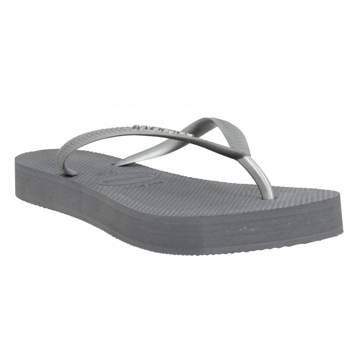 Tongs HAVAIANAS Slim Platform caoutchouc Femme Grey