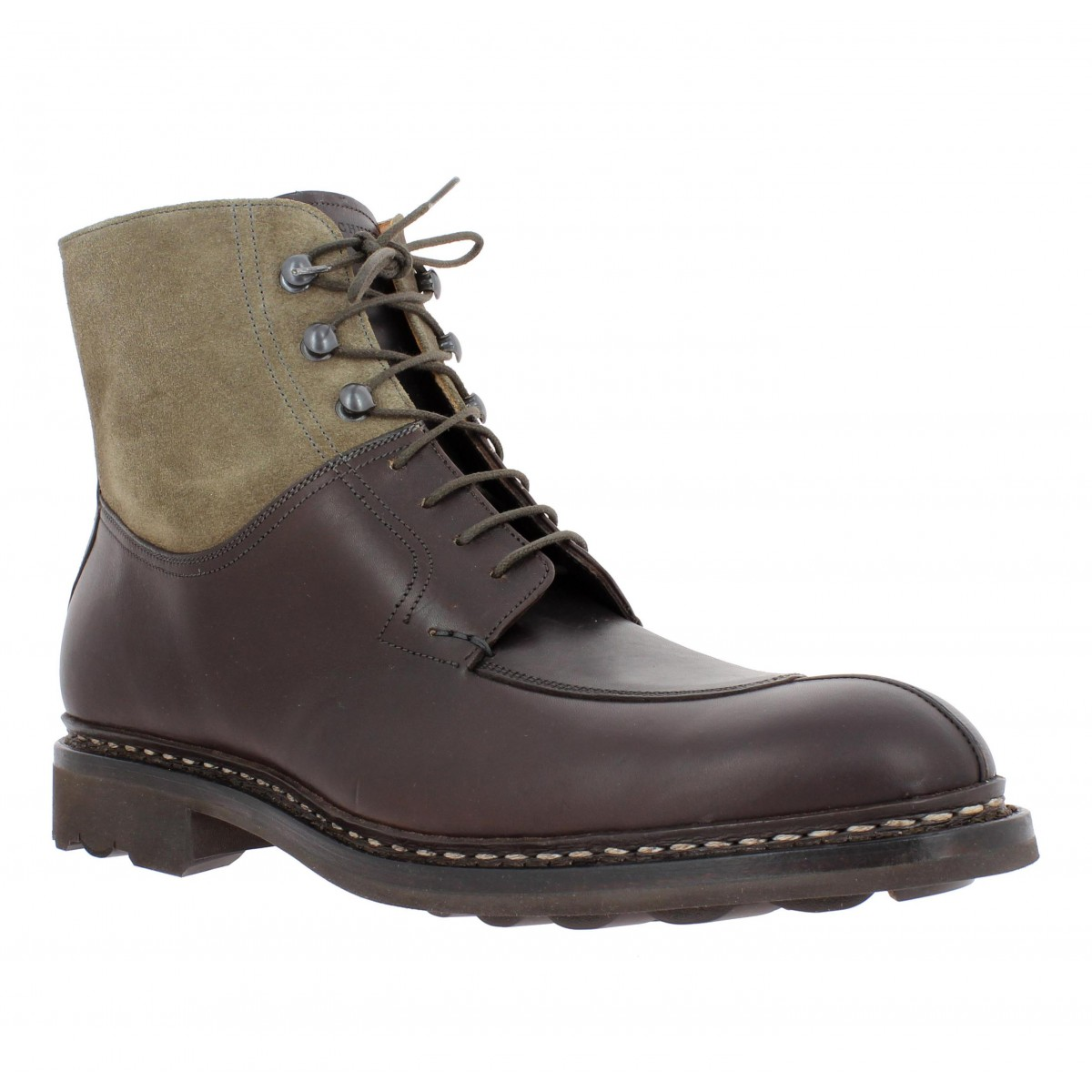 Bottines HESCHUNG Ginkgo cuir + velours Homme Marron + Taupe