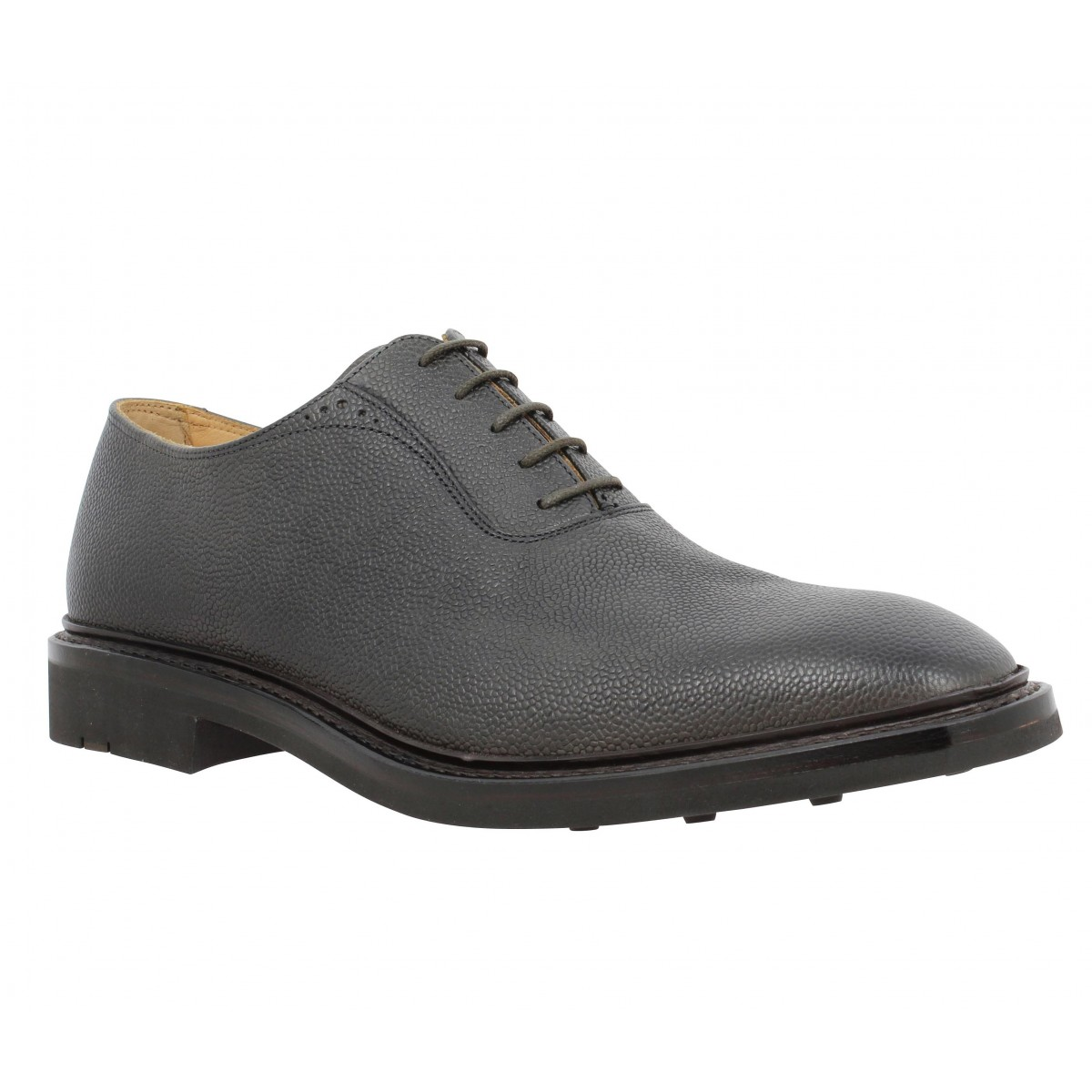 Chaussures à lacets HESCHUNG Itaya Bis cuir graine Homme Cendre