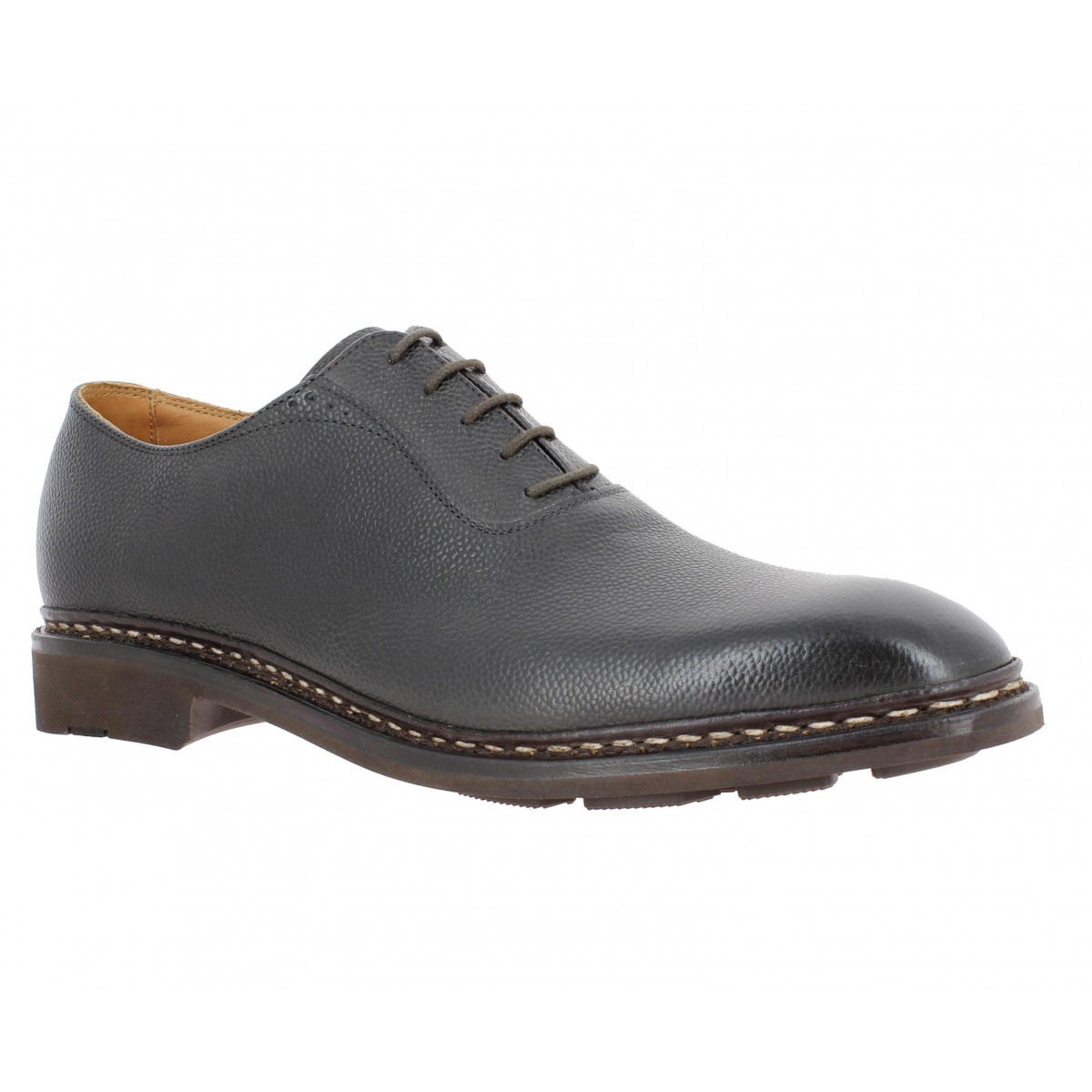 Chaussures à lacets HESCHUNG Itaya cuir graine Homme Cendre