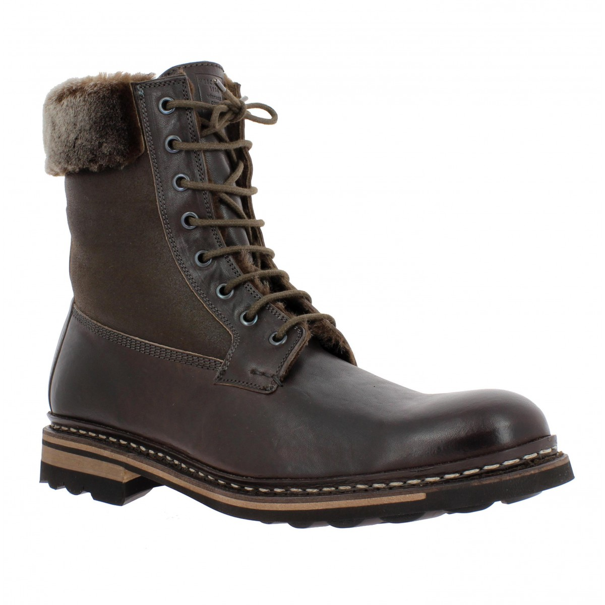 Bottines HESCHUNG Zermatt veau + fourrure Homme Marron