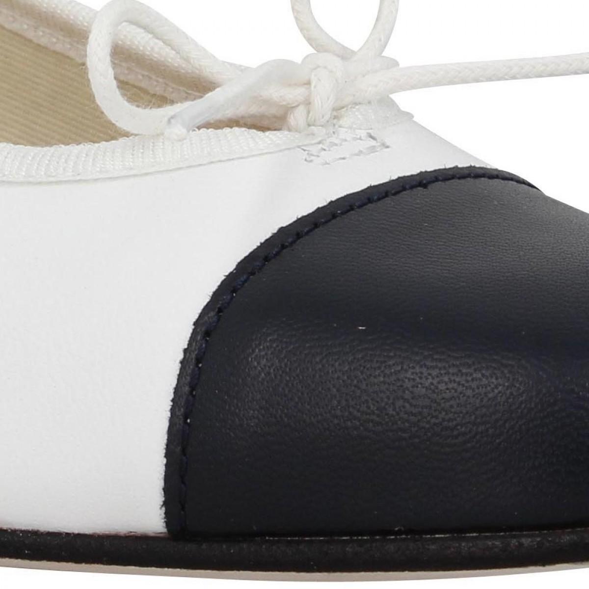 HIRICA Orly cuir Femme Blanc + Marine