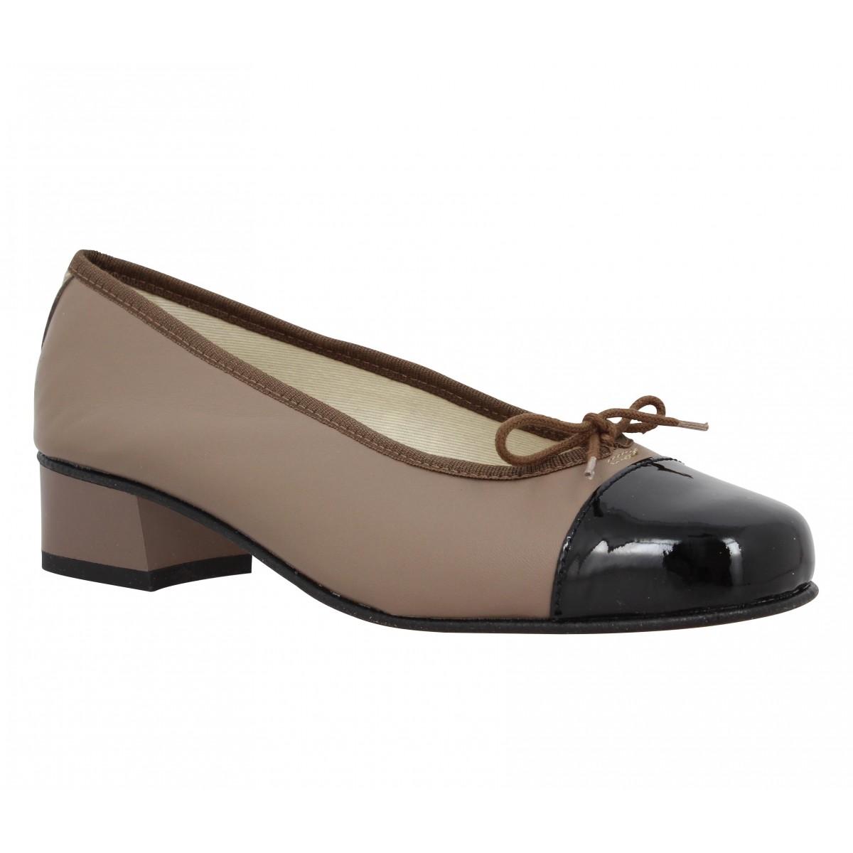 Ballerines HIRICA Orly cuir + vernis Femme Taupe + Noir