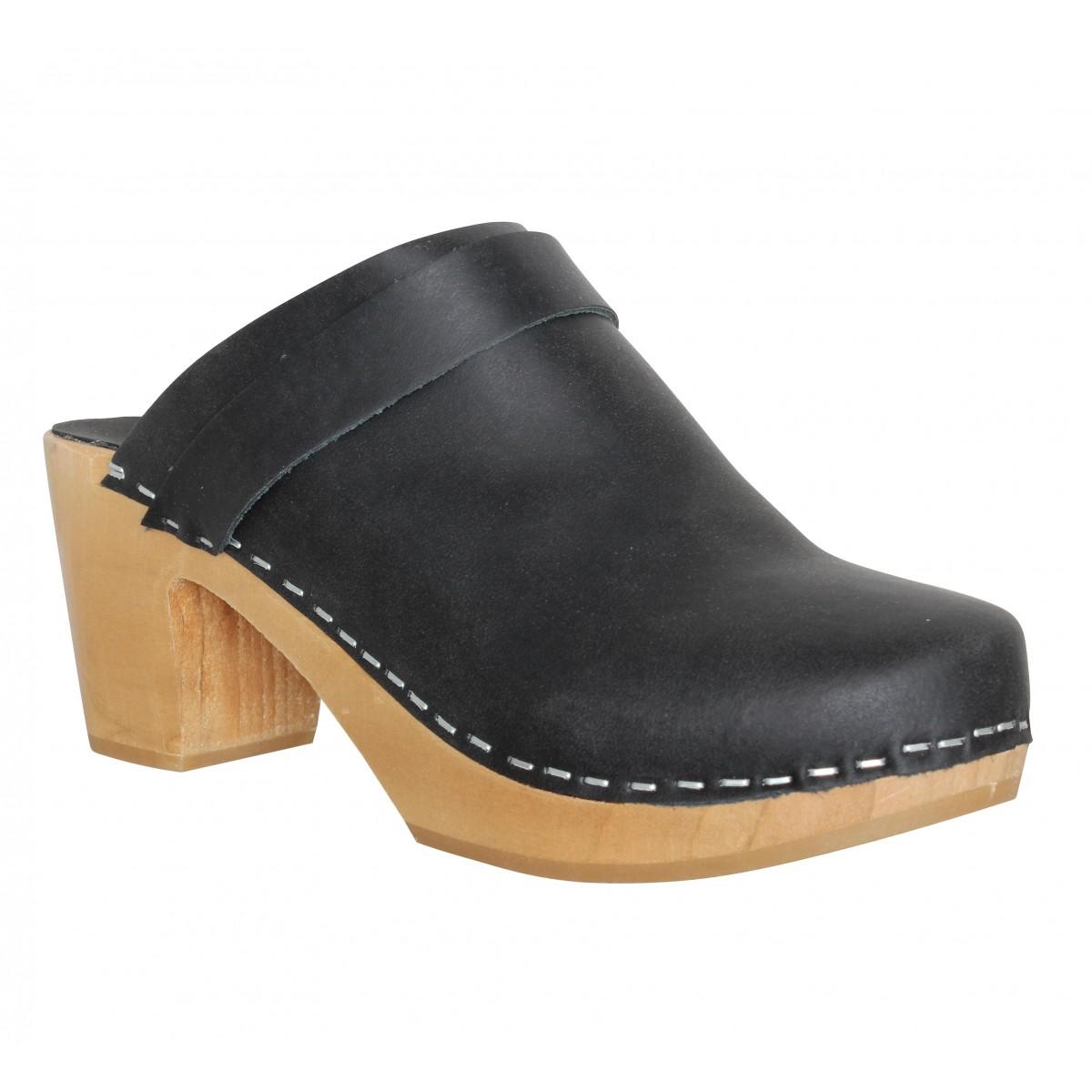 Mules HOOF Eglantine cuir Femme Noir