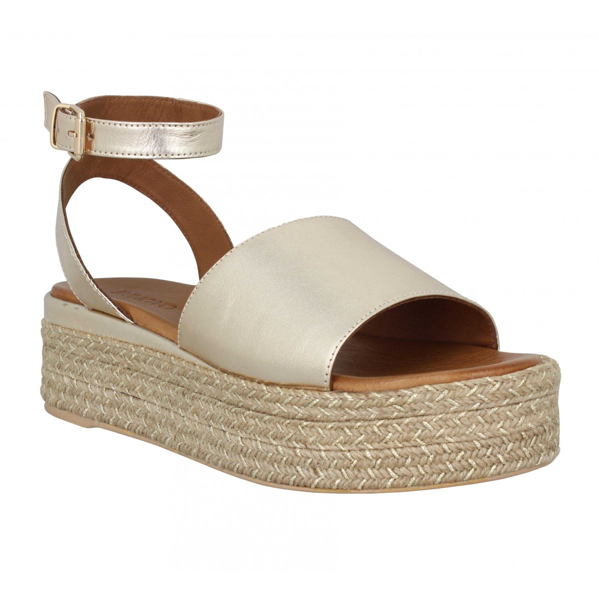 Compensées INUOVO 117039 cuir Femme Gold