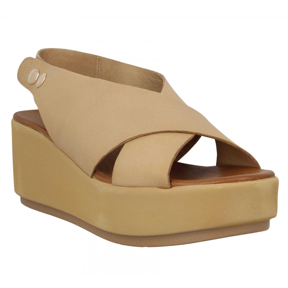 Sandales talons INUOVO 12303 cuir Femme Creme