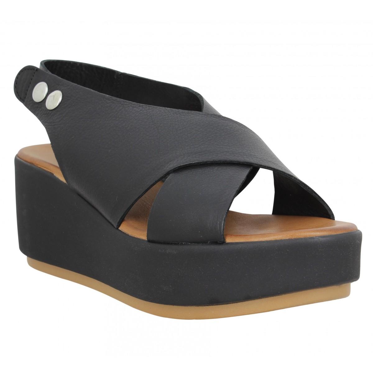Compensées INUOVO 12303 cuir Femme Noir