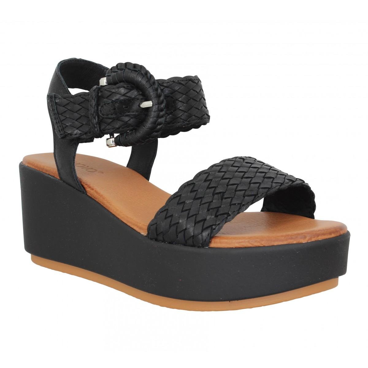 Compensées INUOVO 123035 cuir Femme Noir