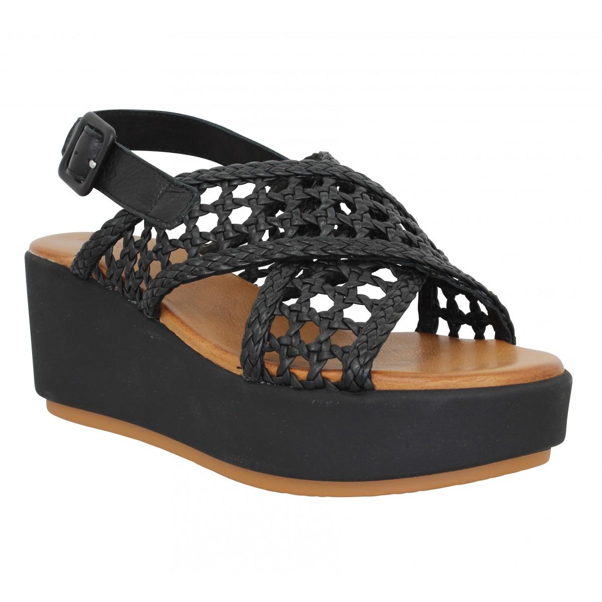 Sandales talons INUOVO 123064 cuir tresse Femme Noir