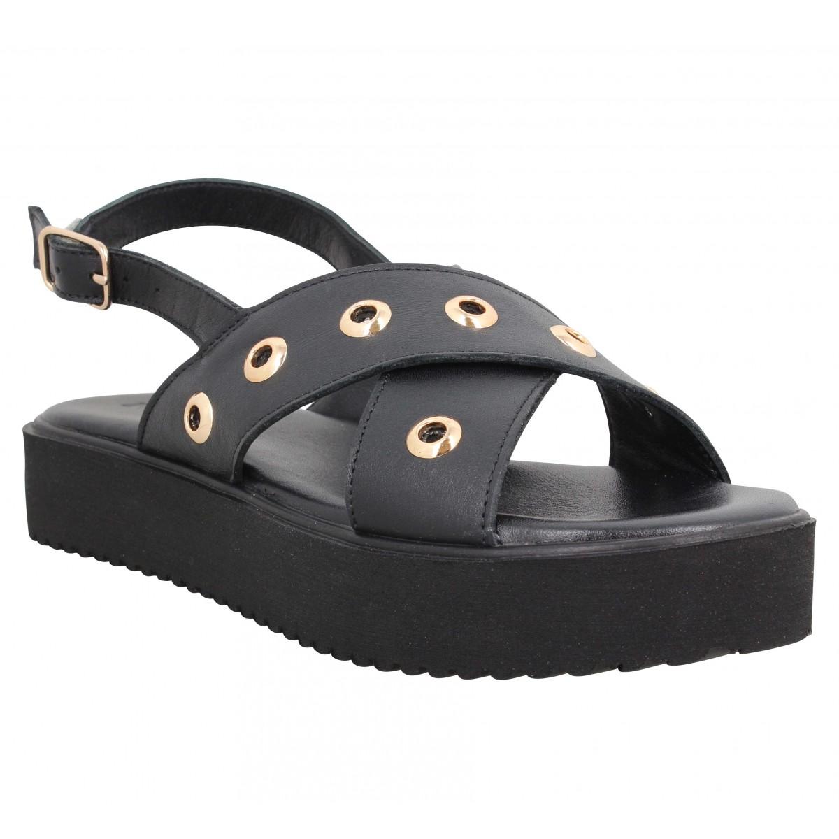 Nu-pieds INUOVO 12806 cuir Femme Noir