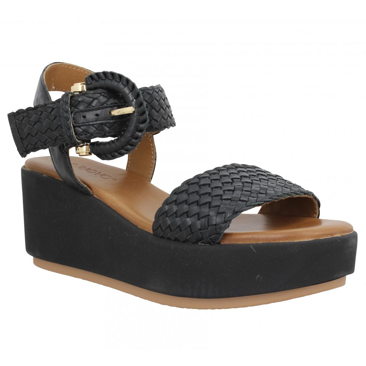 Compensées INUOVO 13200 cuir Femme Noir