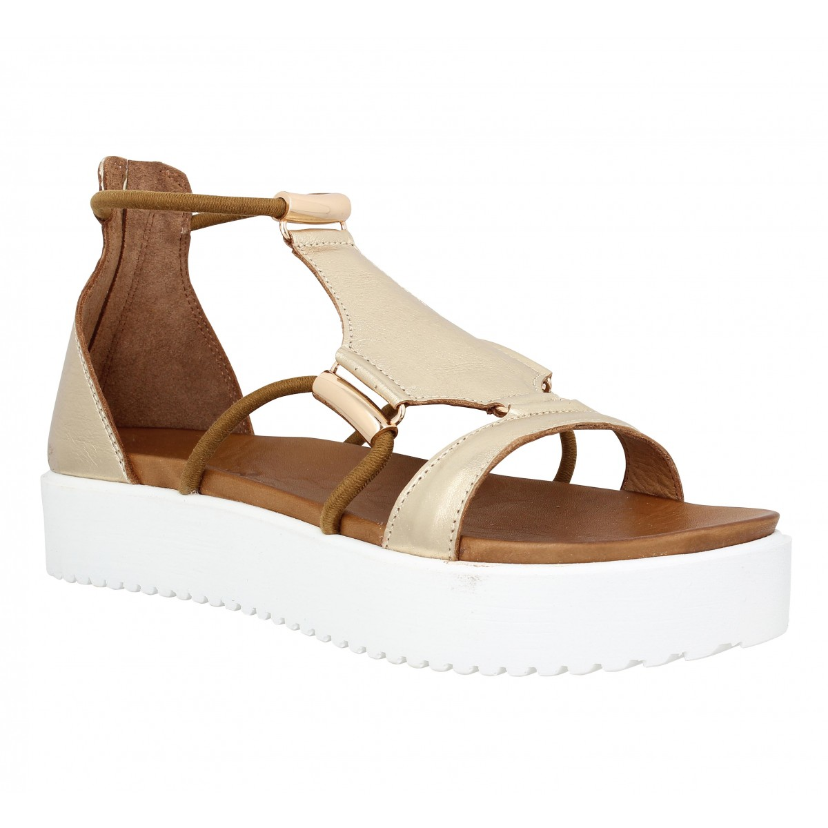 Nu-pieds INUOVO 6130 cuir Femme Gold