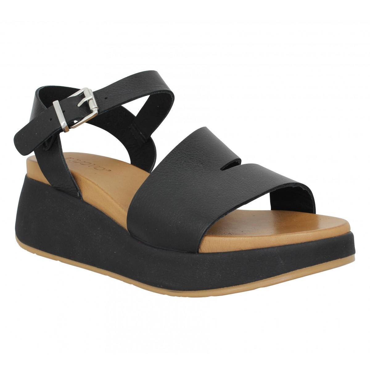 Compensées INUOVO 768011 cuir Femme Noir