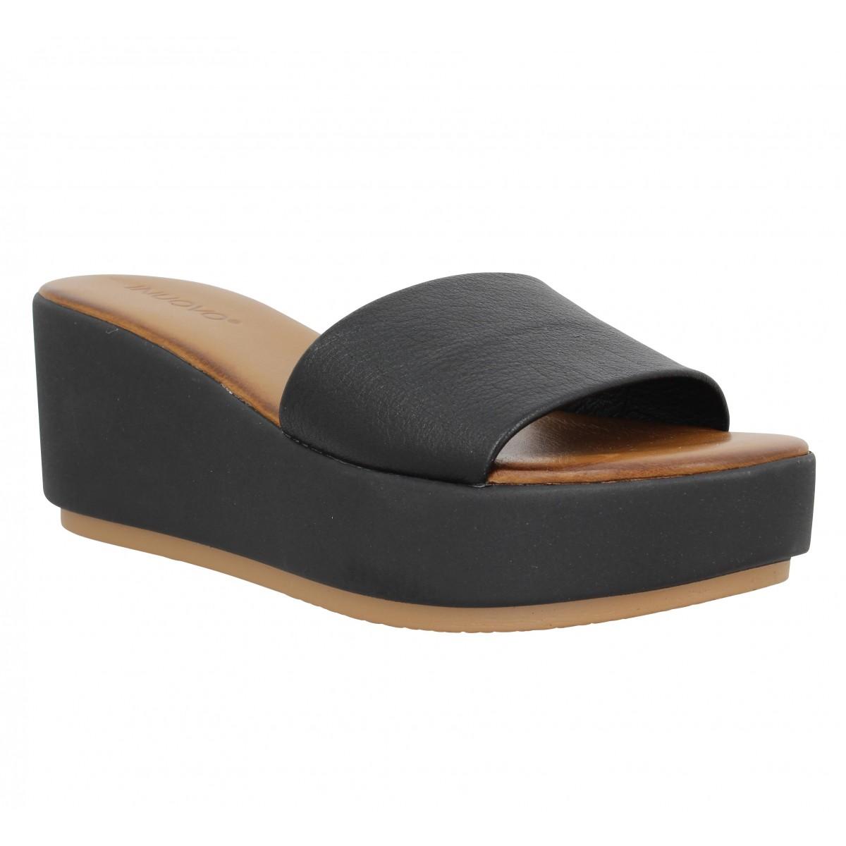 Compensées INUOVO 8695 cuir Femme Noir