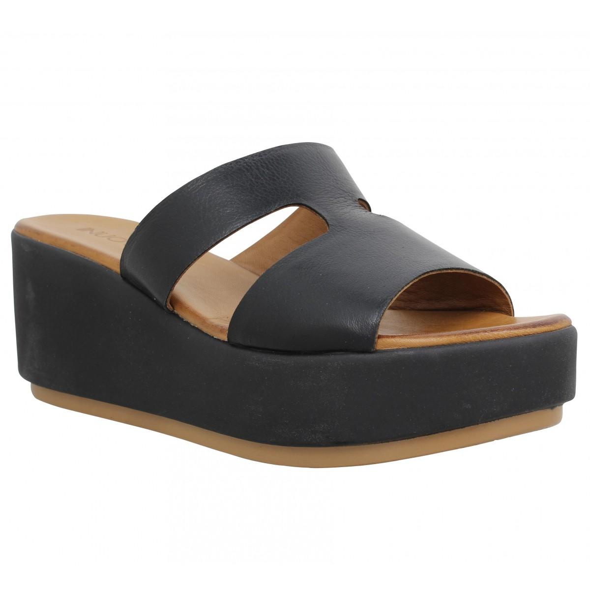 Compensées INUOVO 8758 cuir Femme Noir