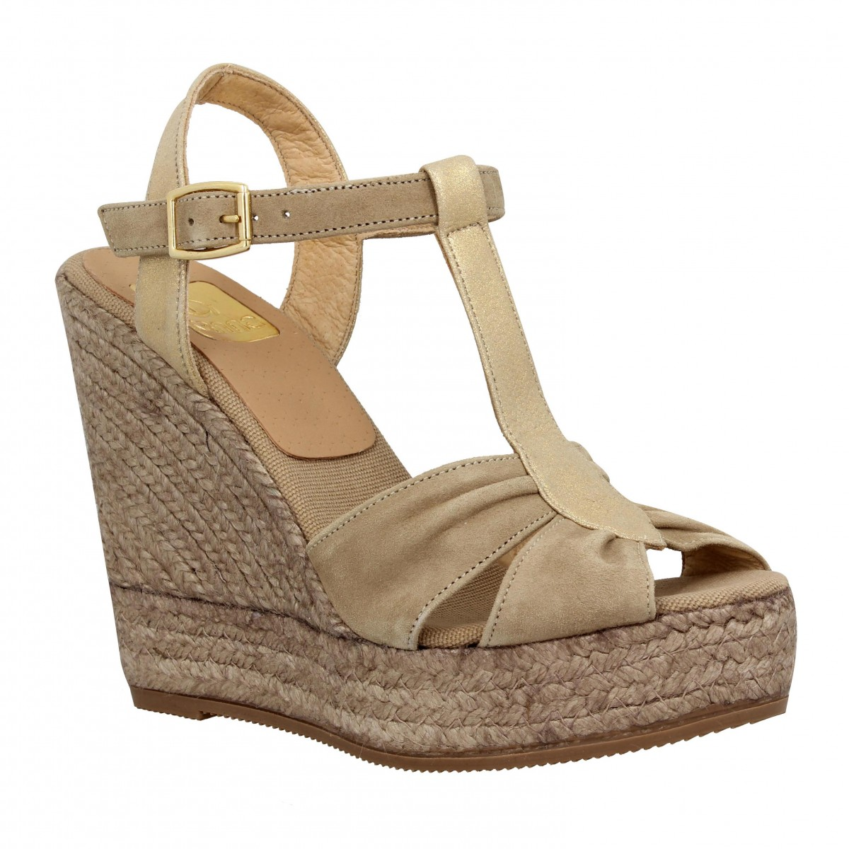 Compensées KANNA 1576 velours + cuir Femme Taupe + Or