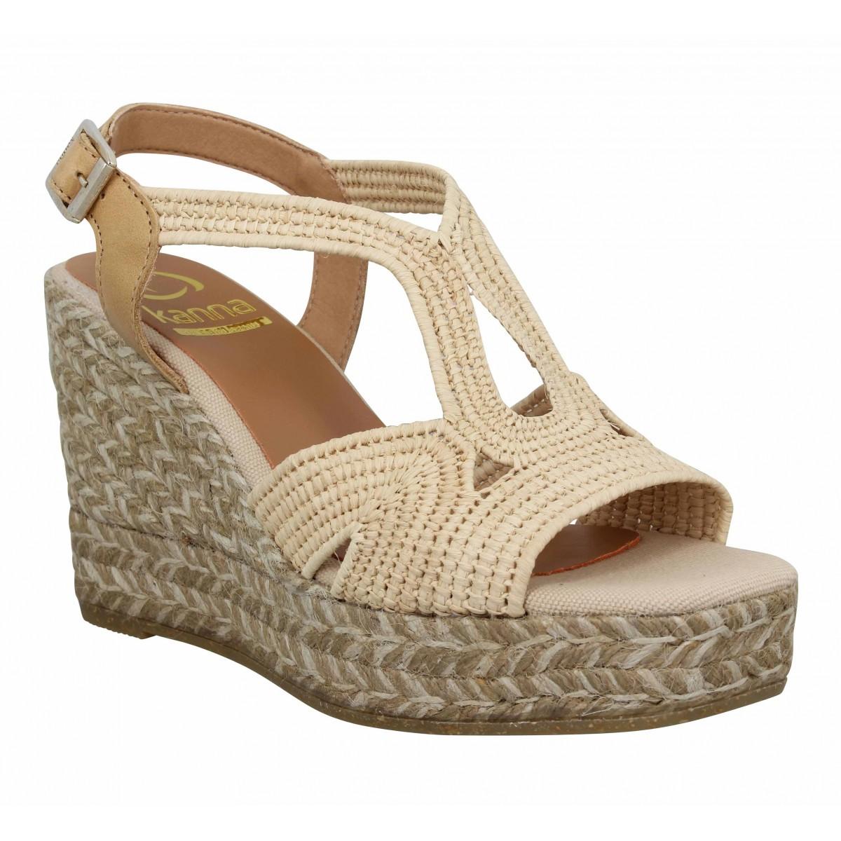 Sandales talons KANNA 21051 rafia Femme Naturel