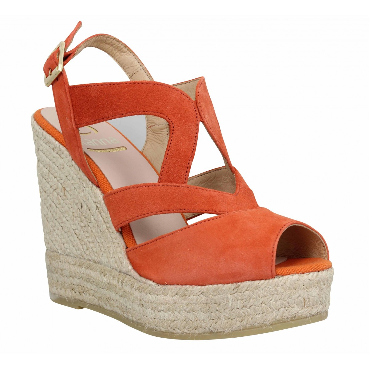 Sandales talons KANNA 4043 velours Femme Orange