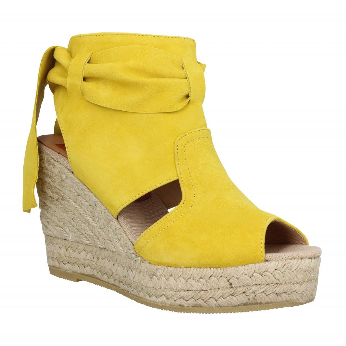Chaussures à talon compensé jaunes femme P4ZtRO