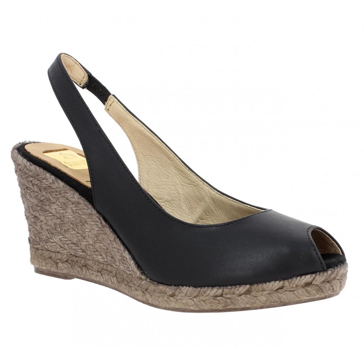 Compensées KANNA 531 cuir Femme Noir