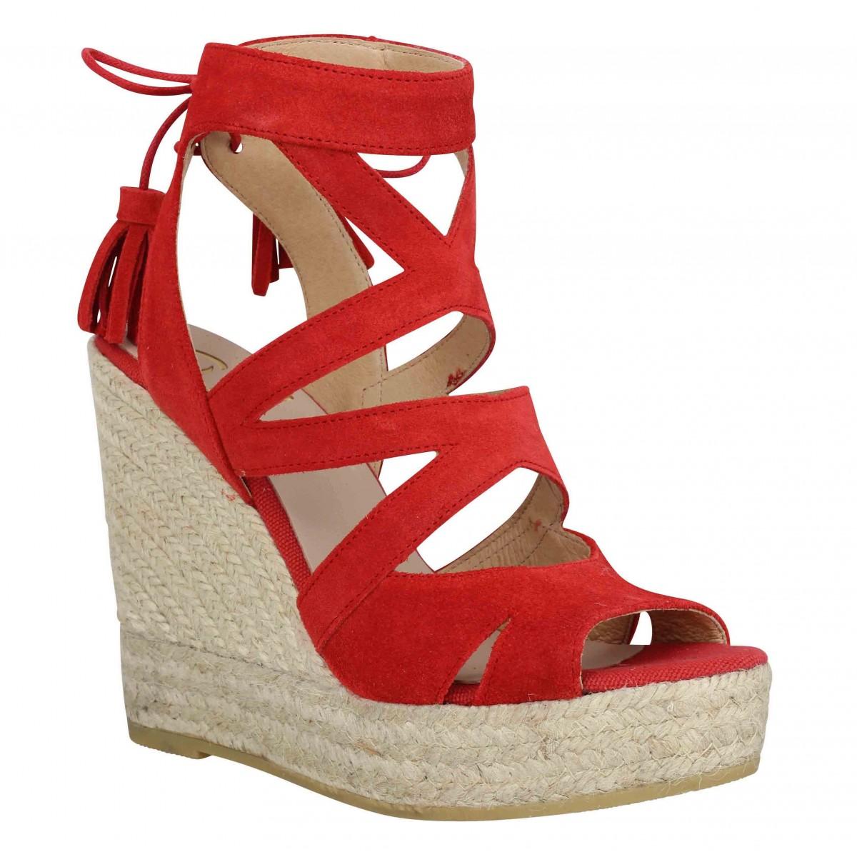 Sandales talons KANNA 6022 velours Femme Rouge