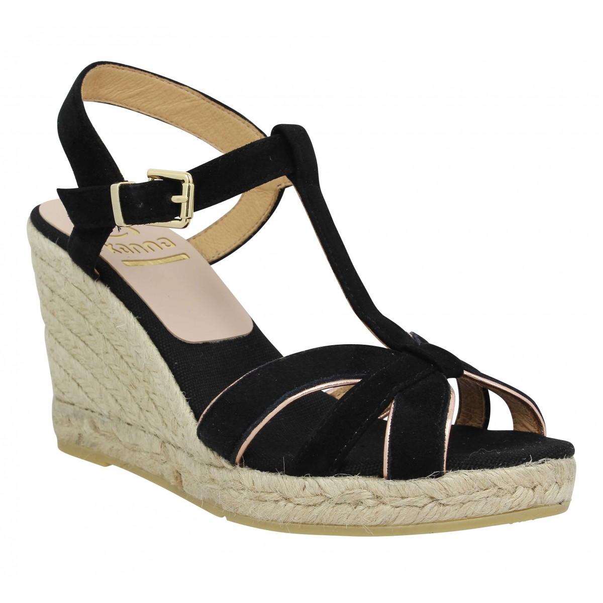 Sandales talons KANNA 8107 velours Femme Noir