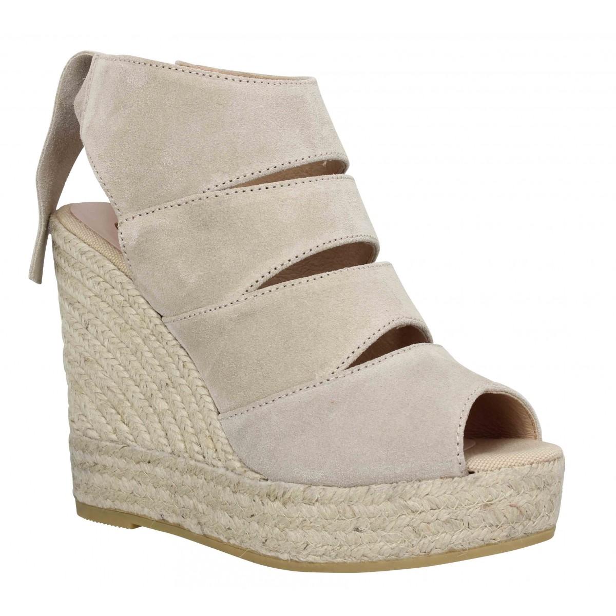 Sandales talons KANNA 8141 velours Femme Beige
