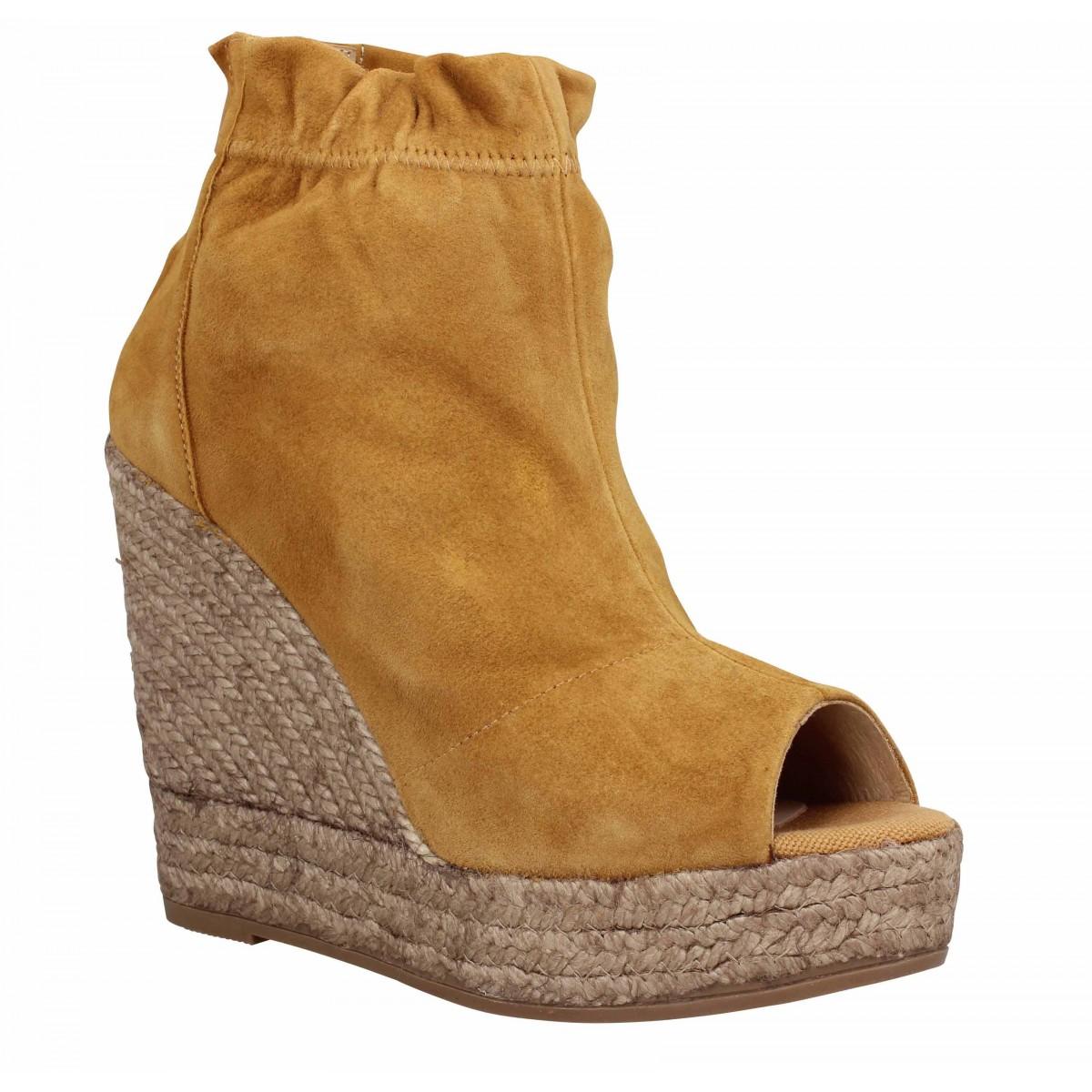 Sandales talons KANNA 9083 velours Femme Camel