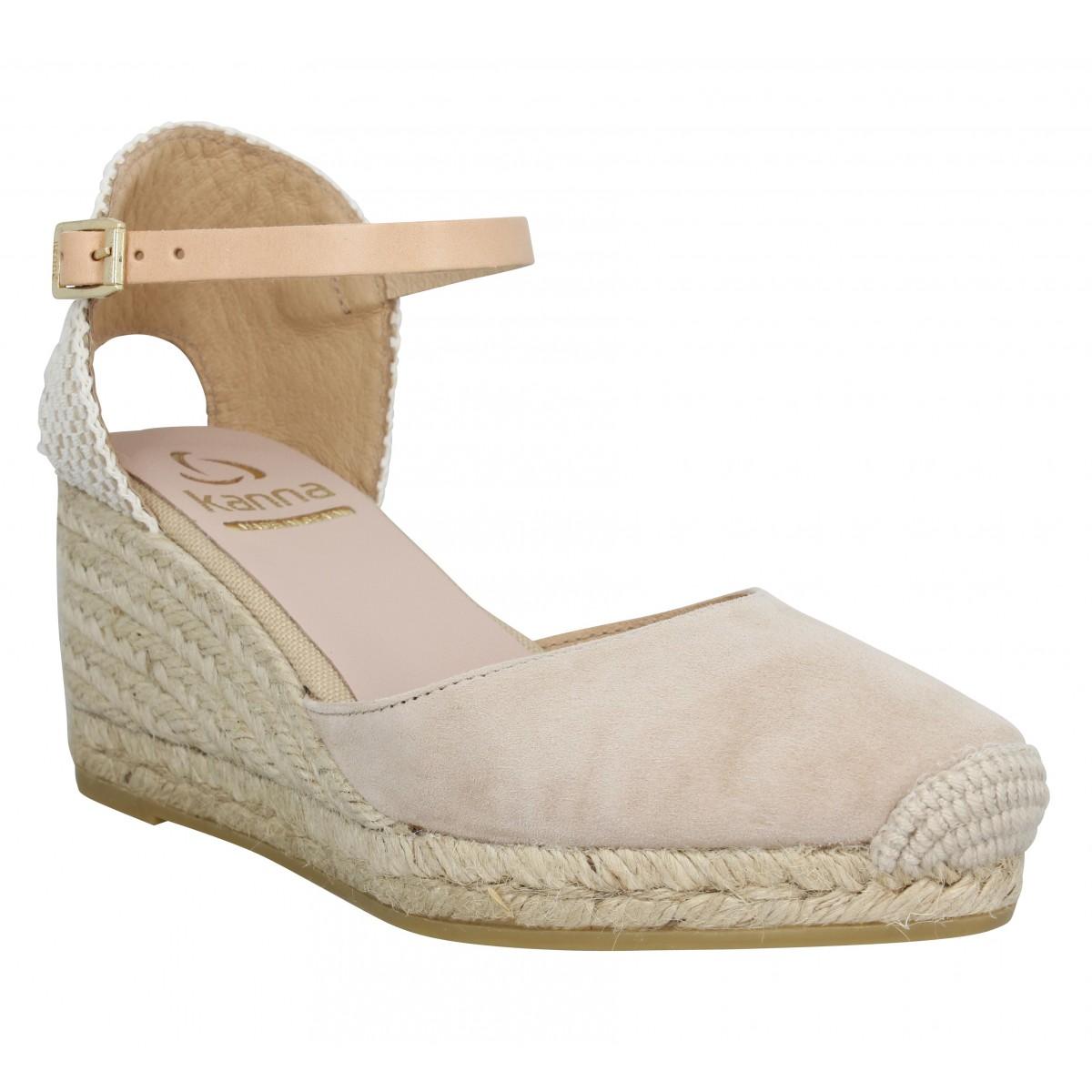 Sandales talons KANNA 9211 velours Femme Ecru