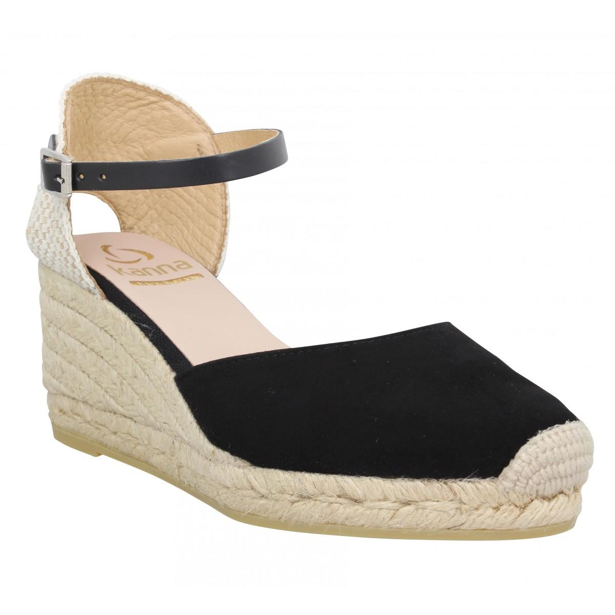 Sandales talons KANNA 9211 velours Femme Noir