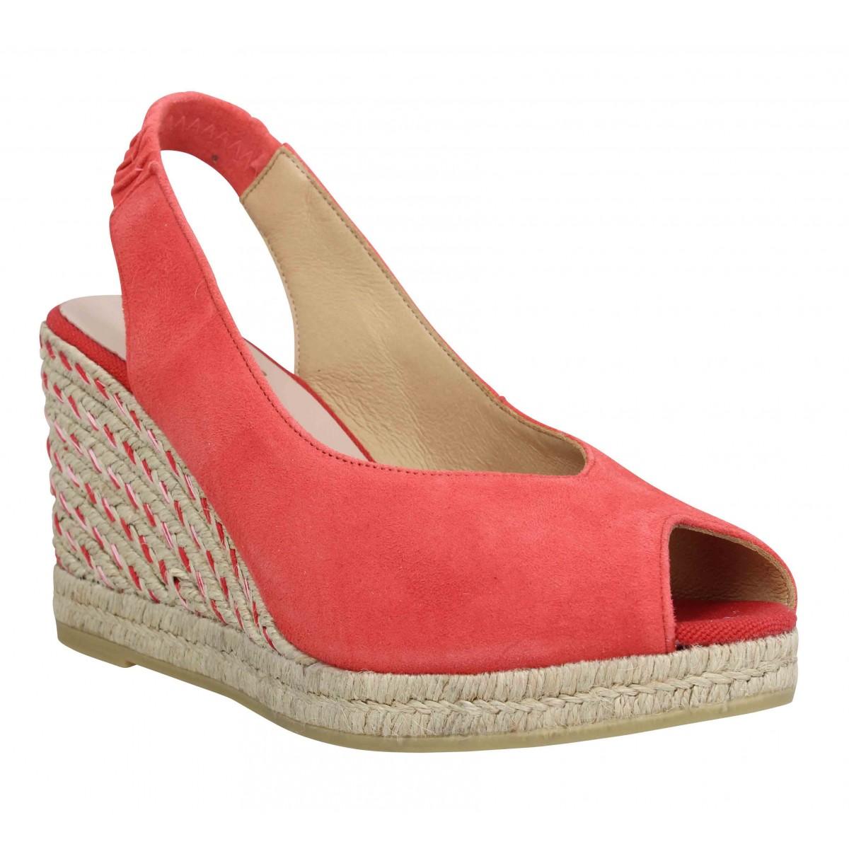 Compensées KANNA 9235 velours Femme Rouge
