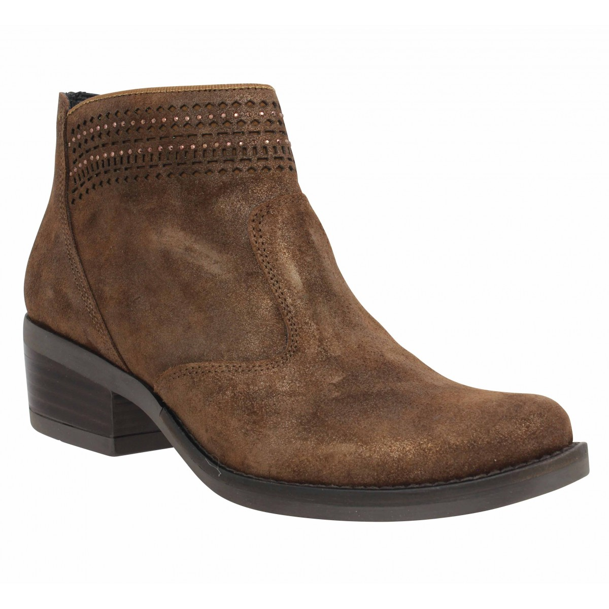 Bottines KANNA 9911 velours Femme Marron
