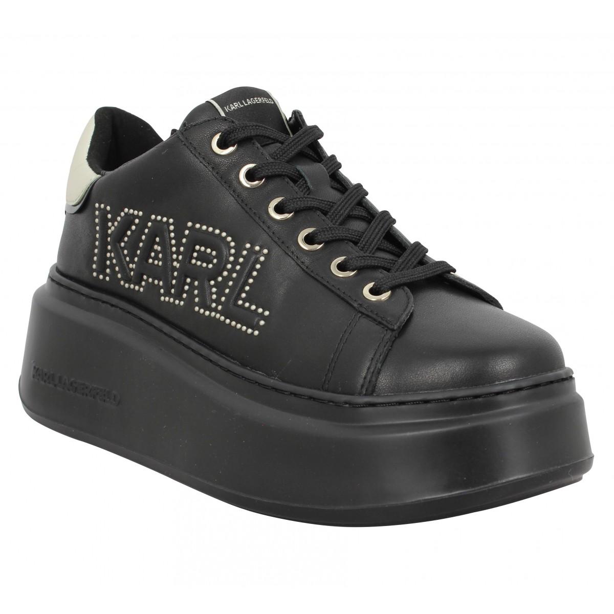 Baskets KARL LAGERFELD Anakapri Karl Mikrostud Logo cuir Femme Noir
