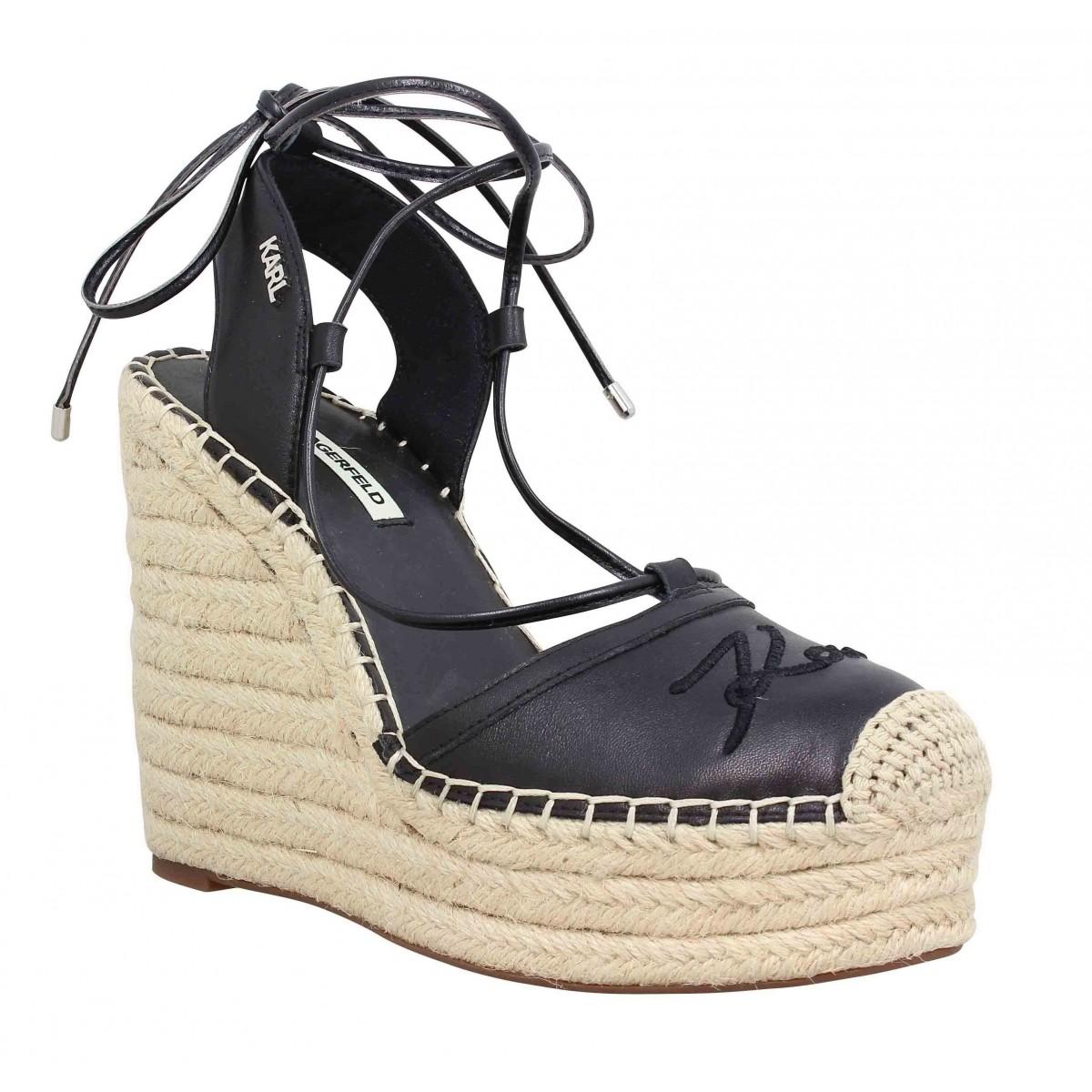 Sandales talons KARL LAGERFELD Kamini Hi cuir Femme Noir
