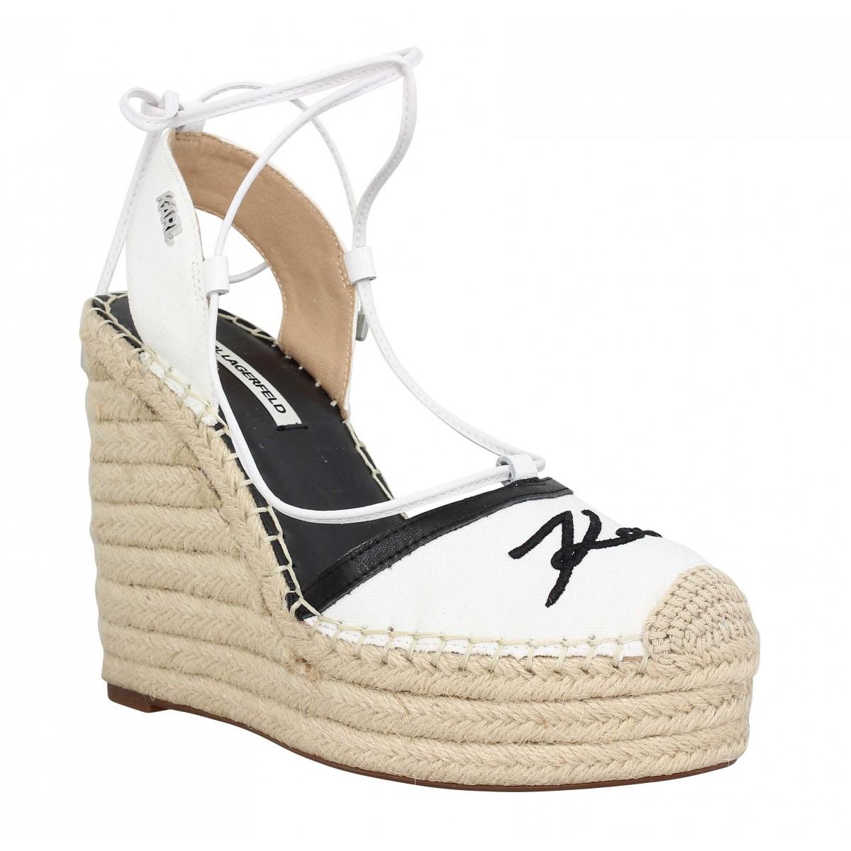 Sandales talons KARL LAGERFELD Kamini Hi toile Femme Blanc