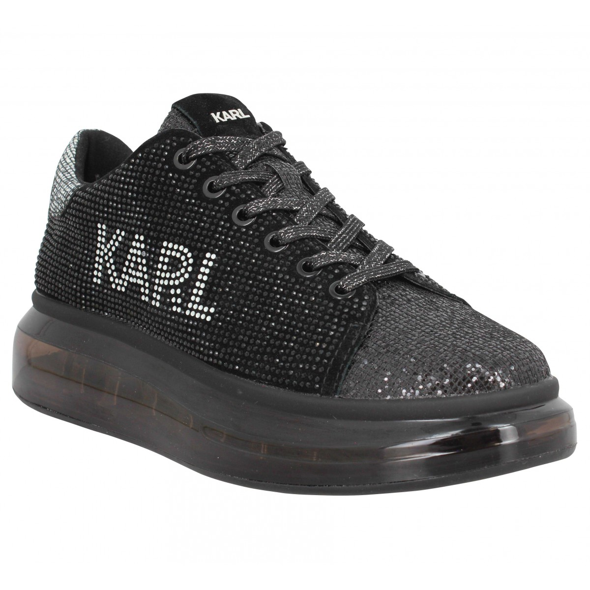 Baskets KARL LAGERFELD Kapri Kushion Karl Logo Lo Lace cuir textured Femme Noir