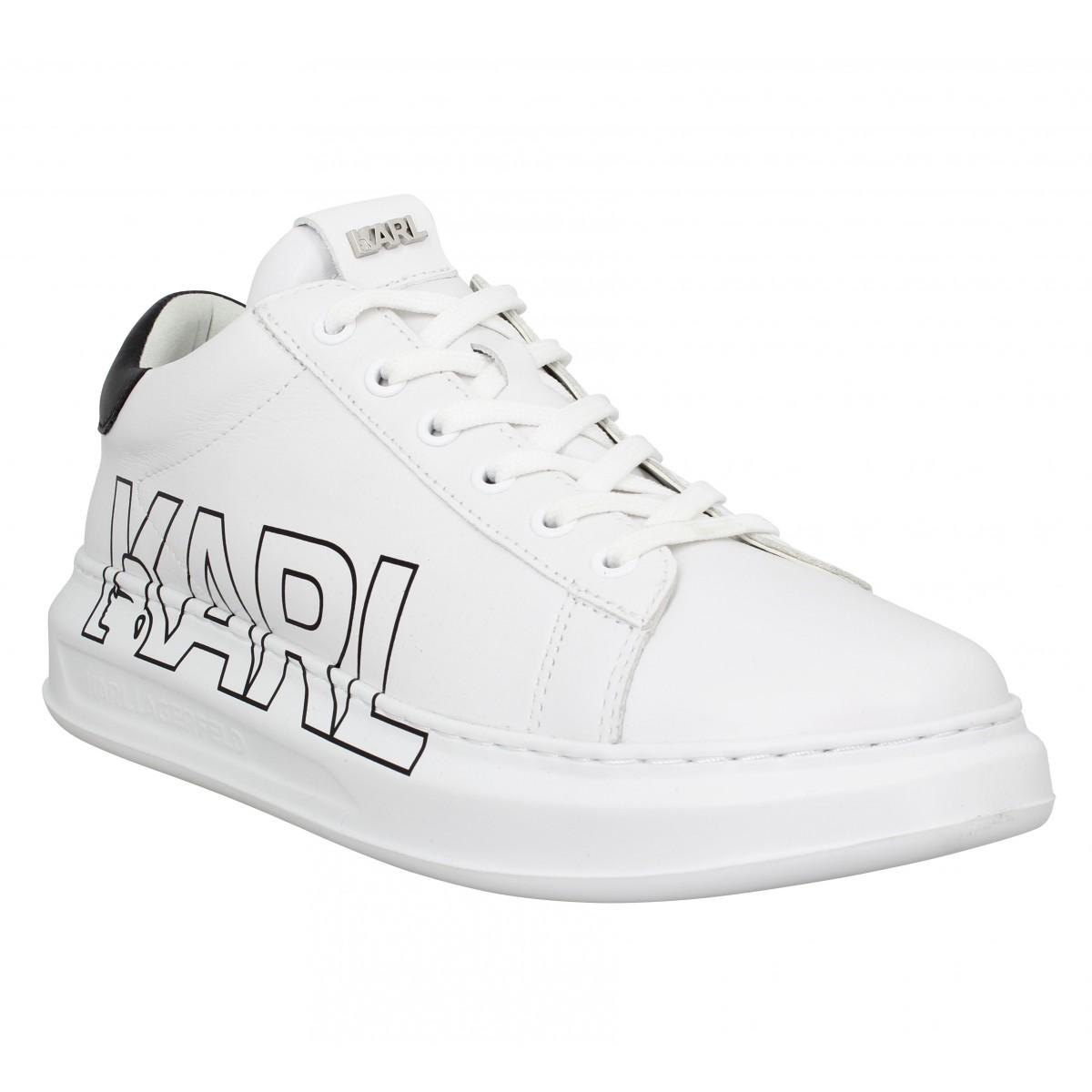 Baskets KARL LAGERFELD Kapri Mens Karl Logo Lace cuir Homme Blanc