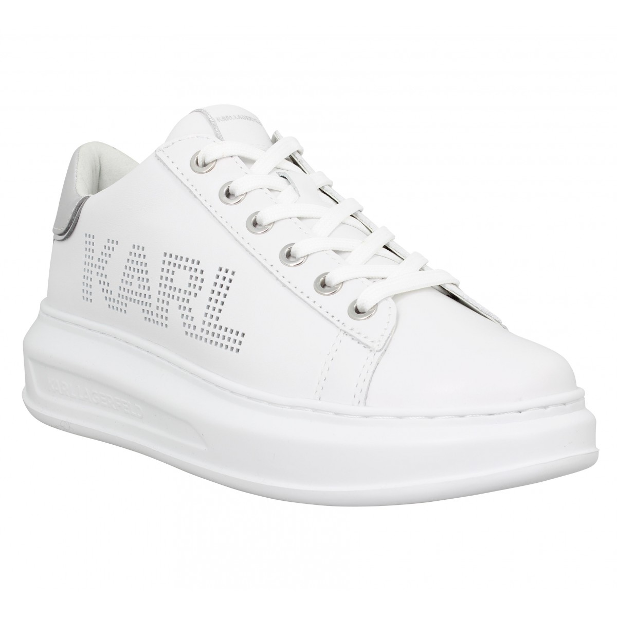 Baskets KARL LAGERFELD Kapri Punkt Logo Lo cuir Femme Blanc