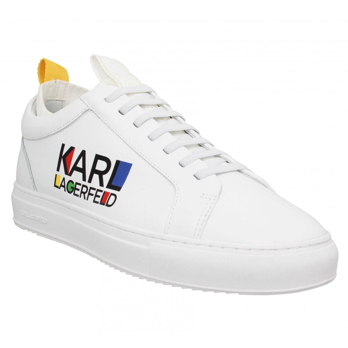 Baskets KARL LAGERFELD Kupsole Haus Logo cuir Homme Blanc