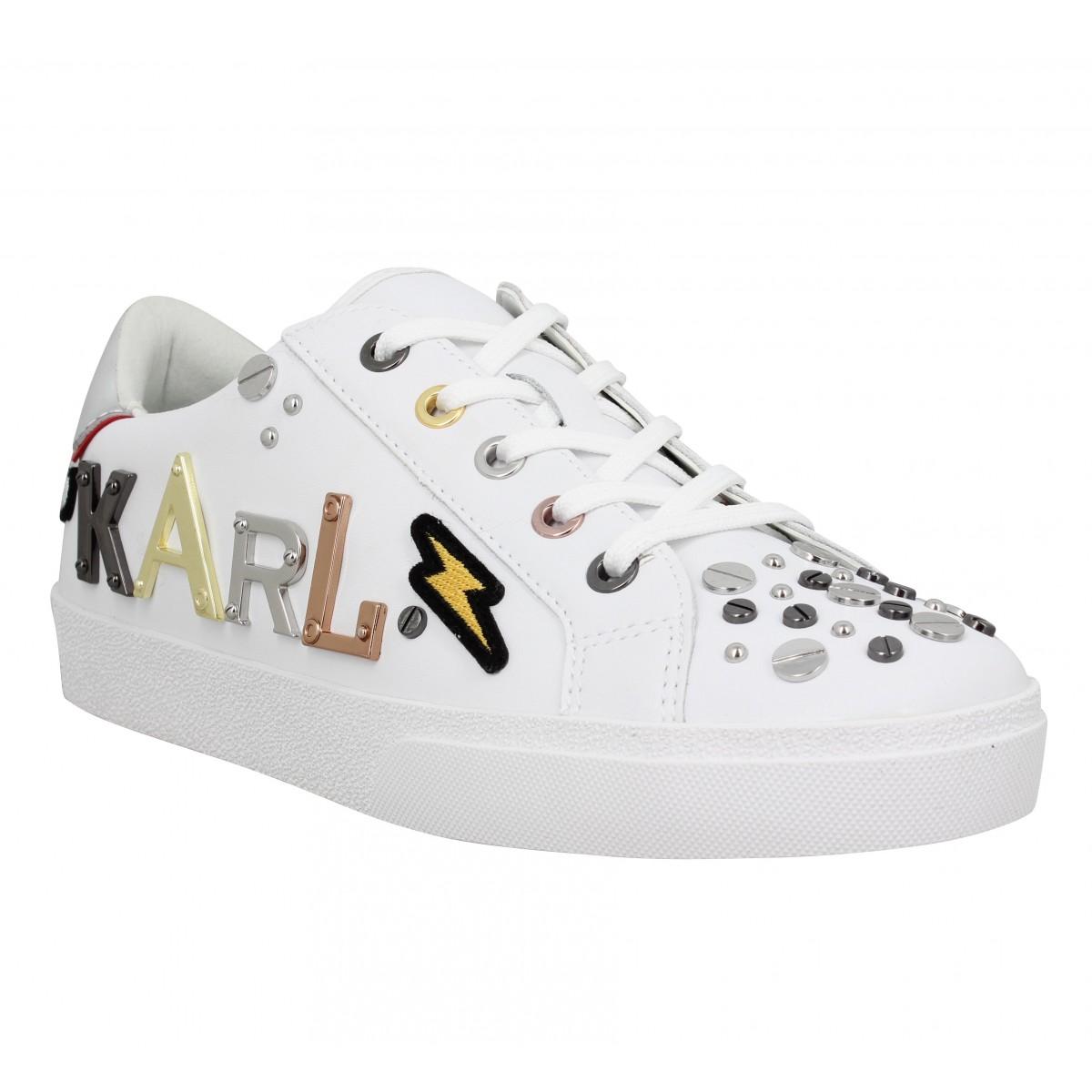 Baskets KARL LAGERFELD Skool Karl The Robot Lo cuir Femme Blanc Argent